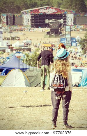 Young Woman Looking At The Main Stage