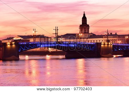ST. PETERSBURG, RUSSIA - MARCH 18, 2015: Night view to Neva river and the Kunstkamera building. Built in 1727, Kunstkamera was the first Russian museum
