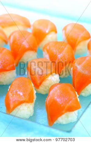 Raw Salmon Sushi, Healthy Japanese Nigiri Sushi With Rice And Fish