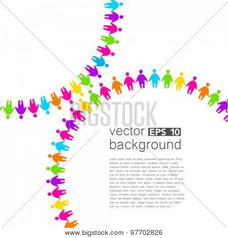Background template with colorful people. Design template concept for global organizations, companies, foundations, associations, unions.