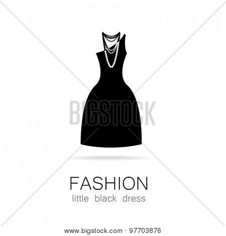 Black dress - classic fashion. Template logo for a clothing store, women's boutique brand women's dresses.