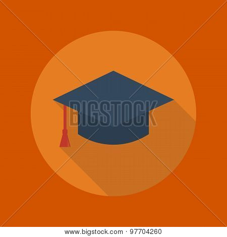 Education Flat Icon. Graduation Cap