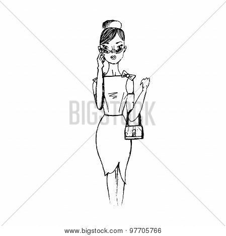 fashion lady in sketch style isolated on white background, vector, illustration