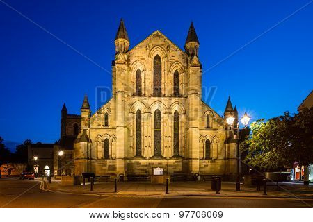 East Side Of Hexham Abbey At Night