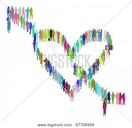 Heart made of Vector Silhouettes Many People
