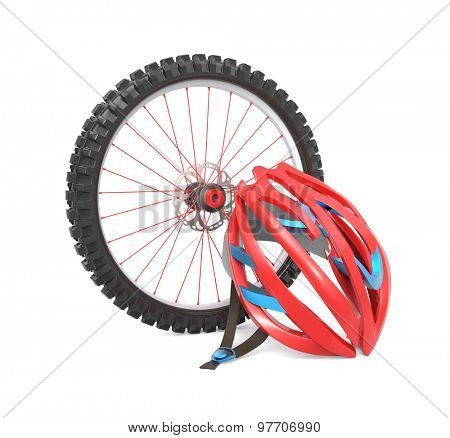 Biking wheel and helmet