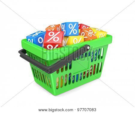 Basket with percent cubes