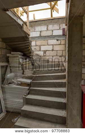 Stairs In Unfinished House In Countryside