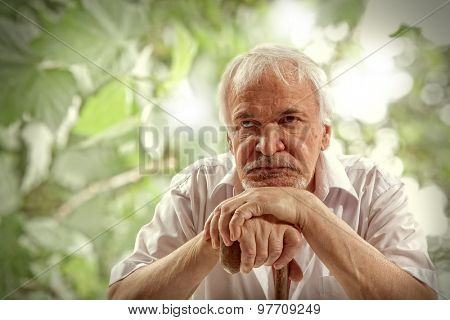 Portrait of a senior man thinking about something