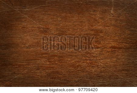 Vintage Wooden Board With Cracks, Checks And Shaded Border