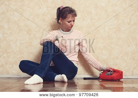 Sad Girl Near To Phone
