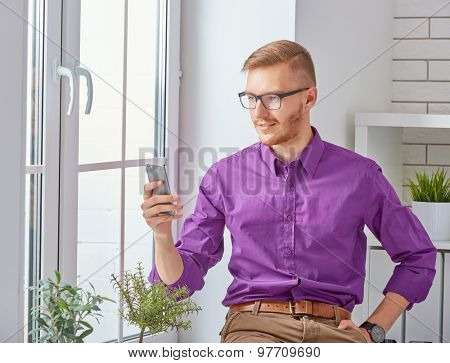 Businessman  talking on his mobile phone