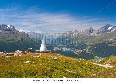 Muottas Muragl With Sculpture Called The Drop, Switzerland