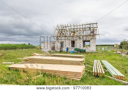 Unfinished House In Countryside