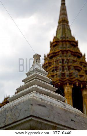 Thailand Asia   In  Bangkok Rain  Temple Marble Blur