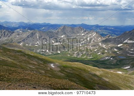 Alpine scene with approaching thunderstorm, Rocky Mountains, Colorado