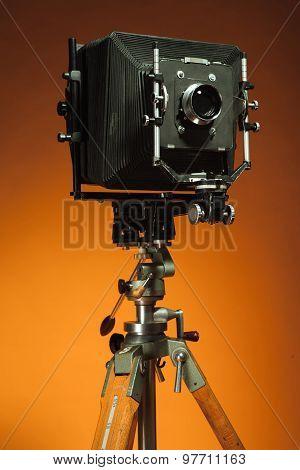Vintage retro camera on a tripod