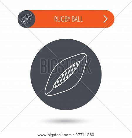 Rugby ball icon. American football sign.
