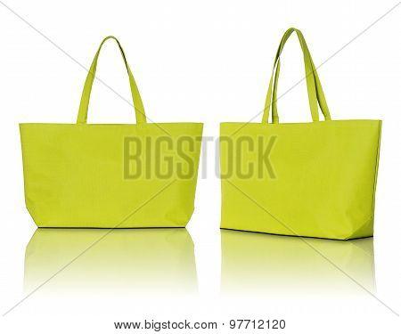 Yellow Shopping Bag On White Background