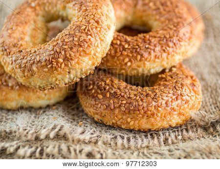 SIMIT, a traditional Turkish round Bagel with sesame seeds