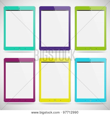 Set Of Realistic Detailed Colored Tablets With Touch Screen Isolated On A Gray Background. Stock Vec