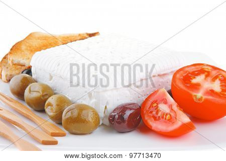 feta and olives with toast and tomatoes