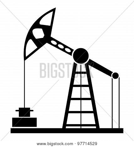 Silhouette Of Oil Pump Isolated On A White Background