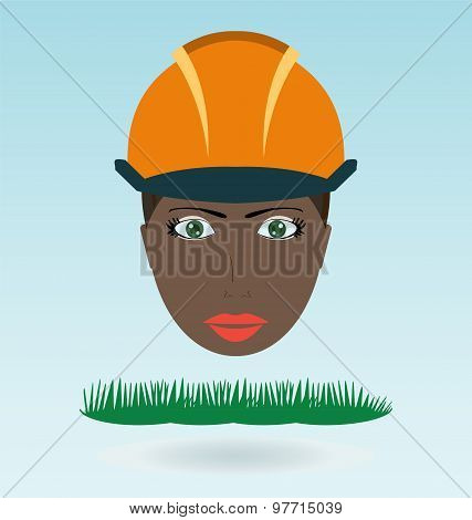 Young Black Woman In Helmet. Grass Concept.