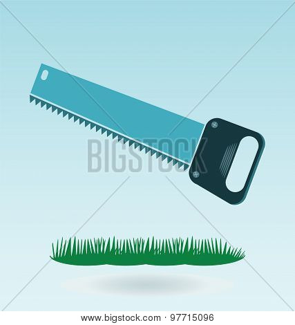 Metal Saw With Sharp Teeth, Razor Sharp Hacksaw. Grass Concept.