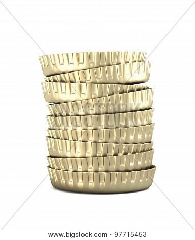 Stack Of Bottle Caps , Isolated