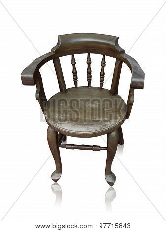 Old Wooden Bar Chair Isolated By Hand Made Over White Clipping Path.