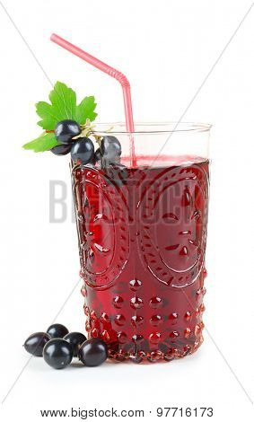 Glass of fresh blackcurrant juice isolated on white