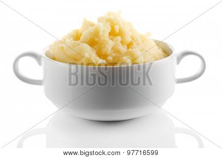 Mashed potatoes in bowl isolated on white