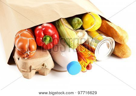 Paper bag with food close up
