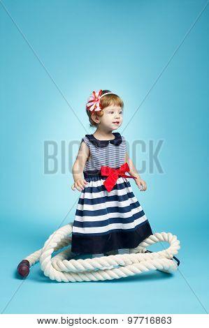 little sailor baby on blue