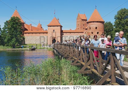 People visit Trakai castle in Trakai, Lithuania.