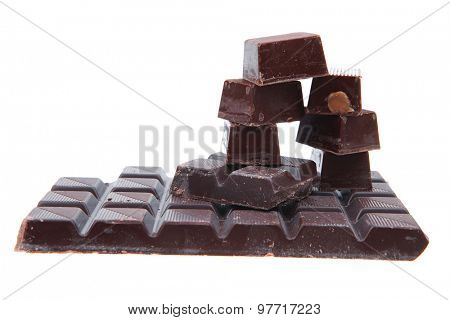 dark chocolate and candy's isolated on white background