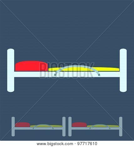 Illustration Of Hospital Bed, Medical Concept.