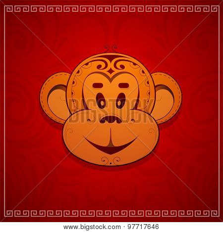 Monkey cartoon as symbol for year 2016