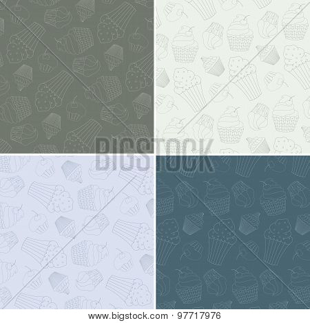 Set of Seamless Vector Patterns with Cute Hand Drawn Cupcakes
