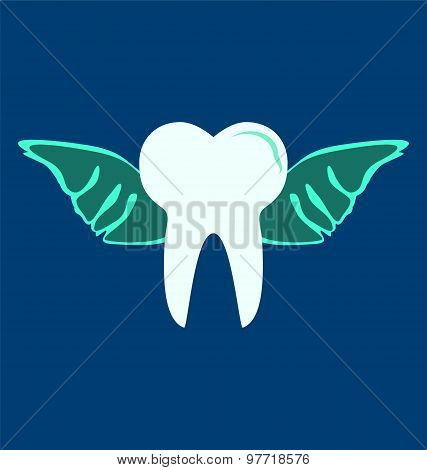 Angelic Tooth With Wings On Blue Background