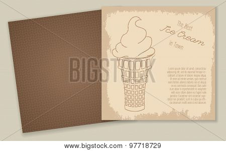 Set of templates with cute hand drawn ice cream illustrations.