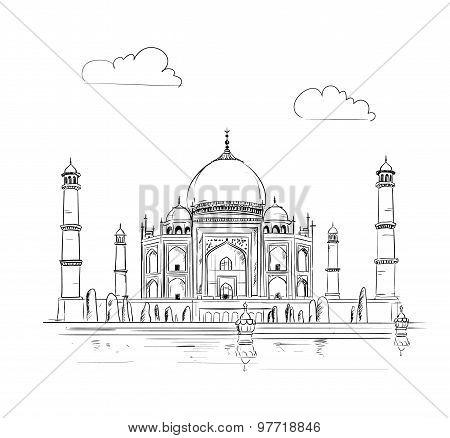 Hand drawn Taj Mahal