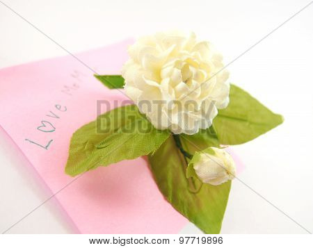 Handmade White Jasmin Flower, Telling Love Mom With Note Paper Card, Mother' S Day