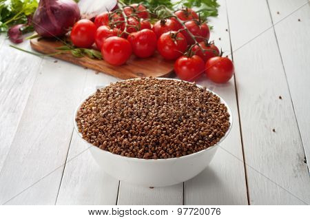 Buckwheat On The Wooden Table