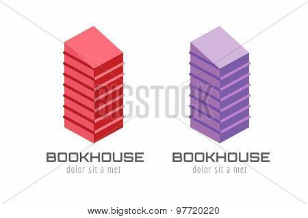 Book skyscraper template logo icon. Back to school. Education, university, college symbol or knowled