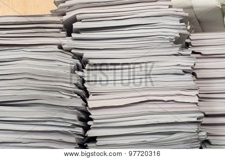 Three big stack of office paper