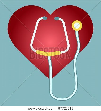 Stethoscope And Heart Icon Or Sign. Vector Symbol Or Element For Medicine Design.