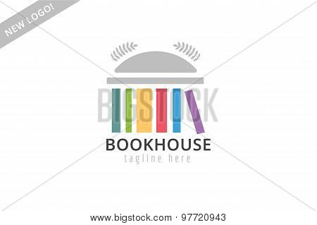 Book building template logo icon. Back to school. Education, university, college symbol or knowledge