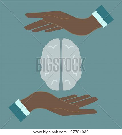 Human Brain In Doctor Hans, Medacal Icon Concept